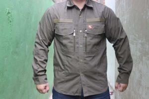 konveksi baju lapangan tactical bahan ripstok warna grey dark pakai resleting disamping saku