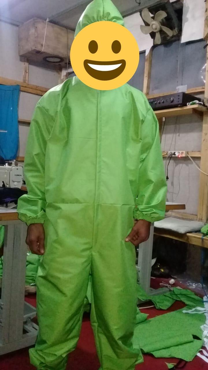 Konveksi baju APD/Hazmat bahan ZN warna hijau melon